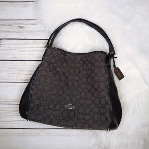 COACH BLACK SIGNATURE PRINT CANVAS SHOULDER BAG